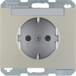 47387004 SCHUKO socket outlet with labelling field,  enhanced contact protection,  Berker K.5, stainless steel matt,  lacquered