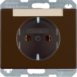 47390001 SCHUKO socket outlet with labelling field,  Berker Arsys,  brown glossy
