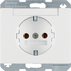 47390069 SCHUKO socket outlet with labelling field,  Berker Arsys,  polar white glossy