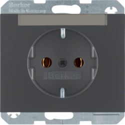 47397006 SCHUKO socket outlet with labelling field,  Berker K.1, anthracite matt,  lacquered