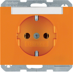 47397014 SCHUKO socket outlet with labelling field,  Berker K.1, orange glossy