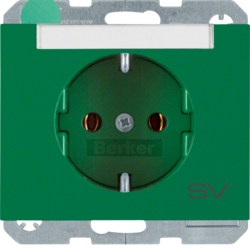 "47397113 SCHUKO socket outlet with ""SV"" imprint Labelling field,  Berker K.1, green glossy"