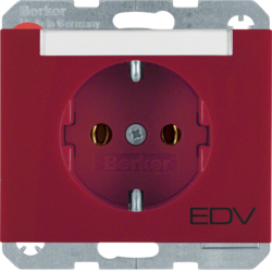 "47397115 SCHUKO socket outlet with ""EDV"" imprint Labelling field,  Berker K.1, red glossy"
