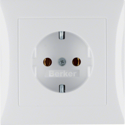 47428989 SCHUKO socket outlet with cover plate Berker S.1, polar white glossy