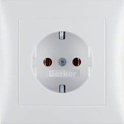 47429909 SCHUKO socket outlet with cover plate Berker S.1, polar white matt