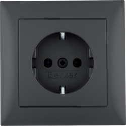47429949 SCHUKO socket outlet with cover plate Berker S.1, anthracite matt