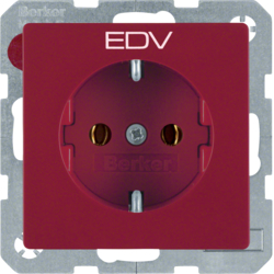 "47436022 SCHUKO socket outlet with ""EDV"" imprint red velvety"