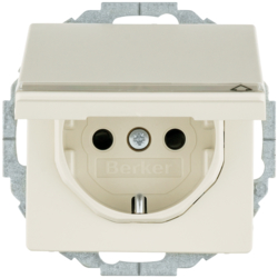 47466082 SCHUKO socket outlet with hinged cover with labelling field,  enhanced contact protection