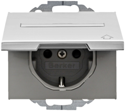 47487103 SCHUKO socket outlet with hinged cover Labelling field,  enhanced contact protection,  Mounting orientation variable in 45° steps,  Berker K.5, Aluminium,  aluminium anodised