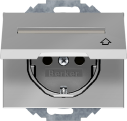 47487104 SCHUKO socket outlet with hinged cover Labelling field,  enhanced contact protection,  Mounting orientation variable in 45° steps,  Berker K.5, stainless steel,  metal matt finish