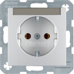47501404 SCHUKO socket outlet with labelling field,  aluminium,  matt,  lacquered