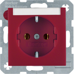 47501902 SCHUKO socket outlet with labelling field,  red matt