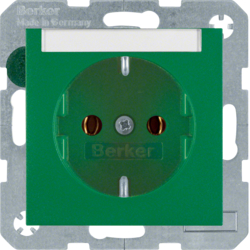 47501903 SCHUKO socket outlet with labelling field,  green matt
