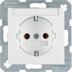 47501909 SCHUKO socket outlet with labelling field,  polar white matt