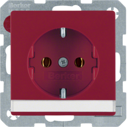 47506002 SCHUKO socket outlet with labelling field,  red velvety