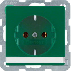 47506003 SCHUKO socket outlet with labelling field,  green velvety
