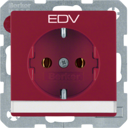 "47506015 SCHUKO socket outlet with ""EDV"" imprint Labelling field,  red velvety"