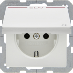 "47516059 SCHUKO socket outlet with hinged cover and ""EDV"" imprint in red polar white velvety"