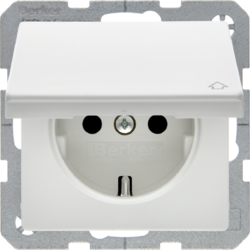 47516079 SCHUKO socket outlet with hinged cover enhanced contact protection,  polar white velvety