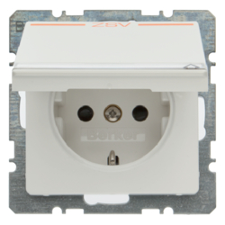 "47526049 SCHUKO socket outlet with hinged cover and ""ZSV"" imprint in orange Labelling field,  enhanced contact protection,  polar white velvety"