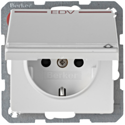 "47526059 SCHUKO socket outlet with hinged cover and ""EDV"" imprint in red Labelling field,  enhanced contact protection,  polar white velvety"