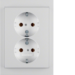 47537003 Double SCHUKO socket outlet with cover plate Berker K.5, aluminium,  matt,  lacquered