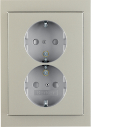 47537004 Double SCHUKO socket outlet with cover plate Berker K.5, stainless steel matt,  lacquered