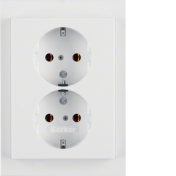 47537009 Double SCHUKO socket outlet with cover plate Berker K.1, polar white glossy