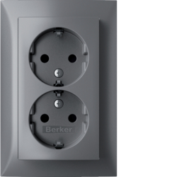 47591404 Double SCHUKO socket outlet with cover plate,  high with enhanced touch protection