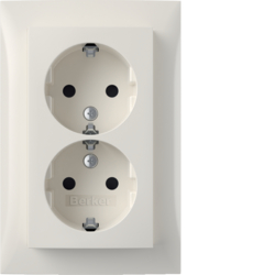 47598989 Double SCHUKO socket outlet with cover plate,  high with enhanced touch protection