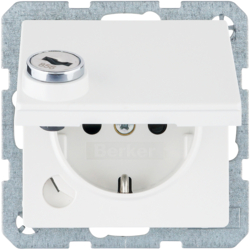 47636089 SCHUKO socket outlet with hinged cover Lock - differing lockings,  polar white velvety