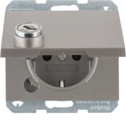 47637004 SCHUKO socket outlet with hinged cover Lock - differing lockings,  Berker K.5