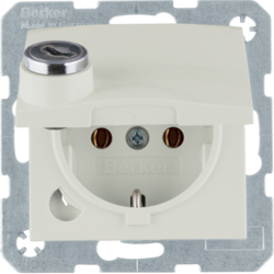 47638982 SCHUKO socket outlet with hinged cover Lock - differing lockings,  white glossy