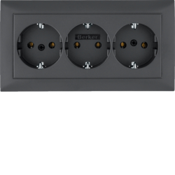 47661949 3gang SCHUKO socket outlet with cover plate Berker S.1, anthracite matt