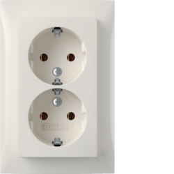 47748989 Double SCHUKO socket outlet with cover plate,  high Berker S.1, polar white glossy