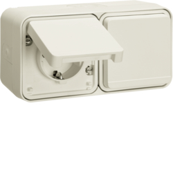 47753542 SCHUKO socket outlet 2gang horizontal with hinged cover surface-mounted with enhanced touch protection,  Berker W.1, polar white matt