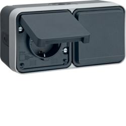 47753545 SCHUKO socket outlet 2gang horizontal with hinged cover surface-mounted with enhanced touch protection,  Berker W.1