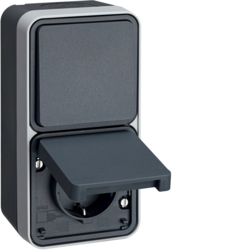 47803525 Combination change-over switch/SCHUKO socket outlet with hinged cover surface-mounted with enhanced touch protection,  Berker W.1