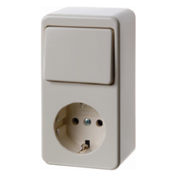 479640 Combination change-over switch/SCHUKO socket outlet surface-mounted Surface-mounted,  white glossy
