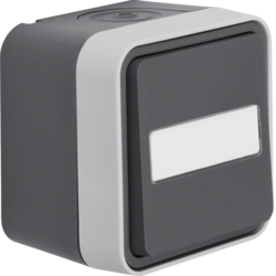 50763555 Push-button,  change-over contact surface-mounted with labelling field - illuminated,  Berker W.1, grey/light grey matt