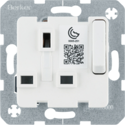 53420219 Socket outlet insert with earthing contact BRITISH STANDARD,  can be switched off with enhanced touch protection,  with screw terminals,  Modul-inserts,  polar white glossy