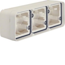 6019303502 Surface-mounted housing 3gang horizontal,  with frame surface-mounted Berker W.1, polar white matt