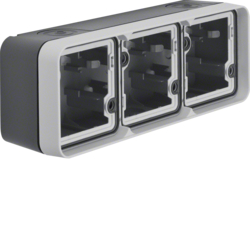 6019303505 Surface-mounted housing 3gang horizontal,  with frame surface-mounted Berker W.1, grey/light grey matt