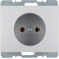 6167157003 Socket outlet without earthing contact Berker K.5, aluminium,  matt,  lacquered