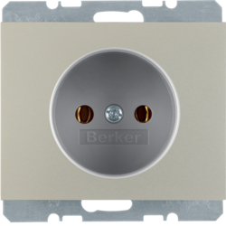 6167157004 Socket outlet without earthing contact Berker K.5, stainless steel matt,  lacquered