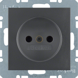 6167331606 Socket outlet without earthing contact with enhanced touch protection,  anthracite,  matt