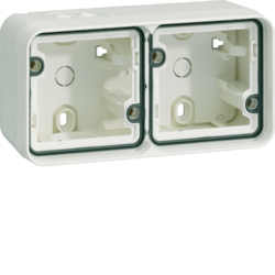 6719323502 Surface-mounted housing 2gang horizontal,  with frame surface-mounted Berker W.1, polar white matt