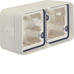 6719323512 Surface-mounted housing 2gang horizontal,  with frame surface-mounted Berker W.1, polar white matt