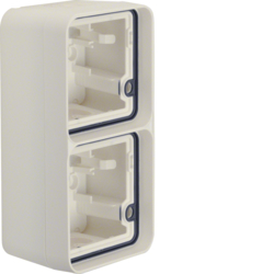 6719333502 Surface-mounted housing 2gang vertical,  with frame surface-mounted Berker W.1, polar white matt