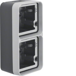 6719333505 Surface-mounted housing 2gang vertical,  with frame surface-mounted Berker W.1, grey/light grey matt